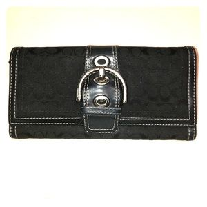 Coach Black & Silver Jacquard Wallet Lots of Room!
